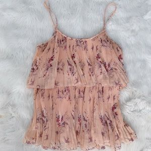 LC Lauren Conrad Floral Peach Pleated Tank